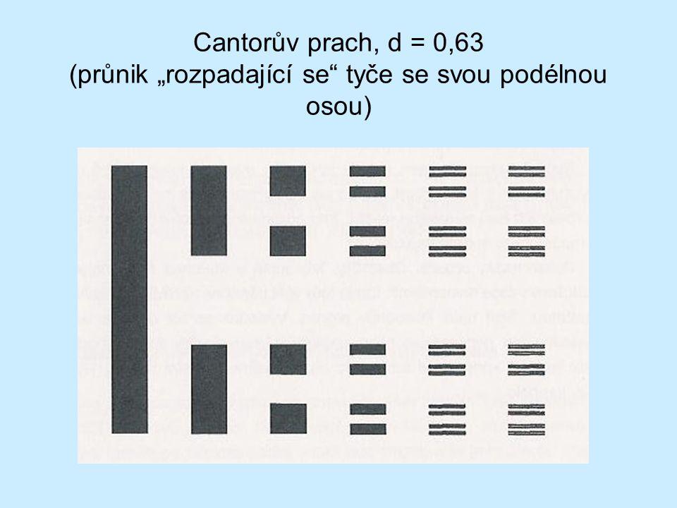"""Cantorův prach, d = 0,63 (průnik """"rozpadající se tyče se svou podélnou osou)"""