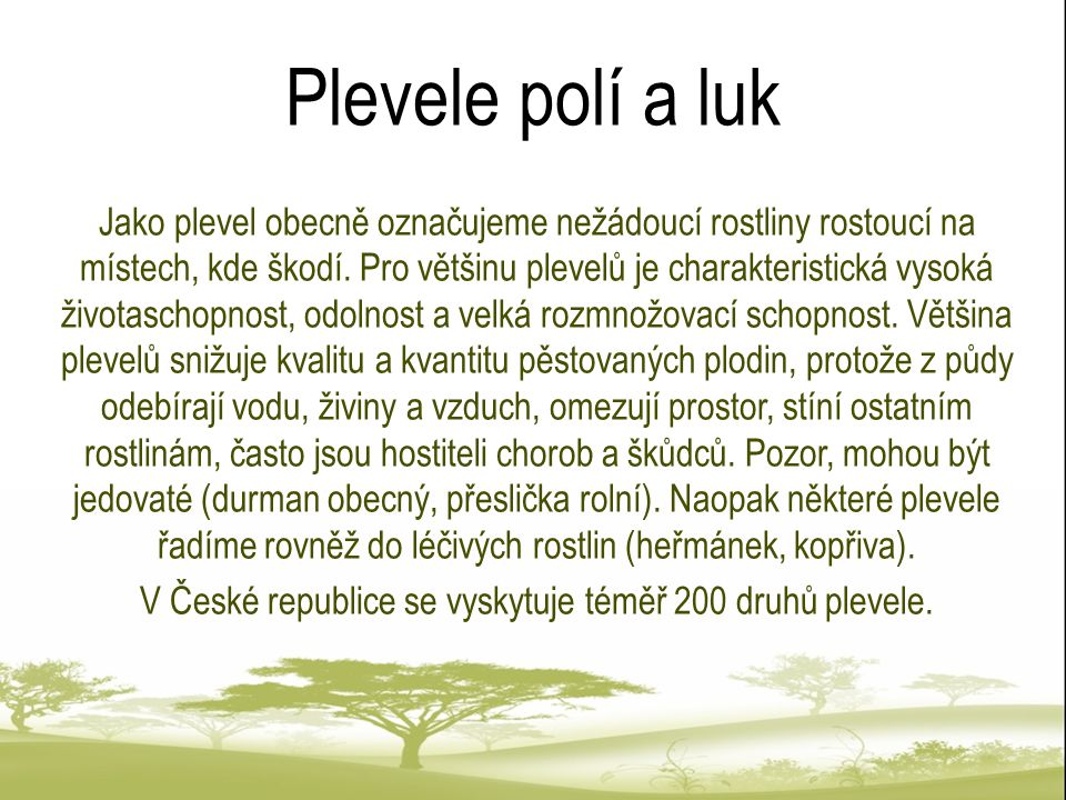 V České republice se vyskytuje téměř 200 druhů plevele.