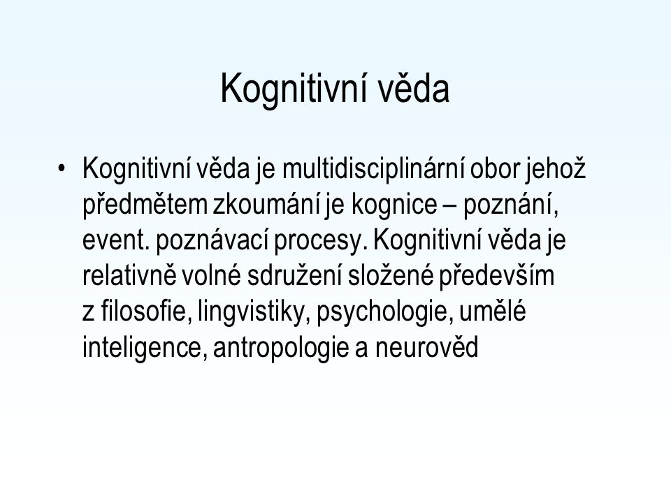 Kognitivní věda