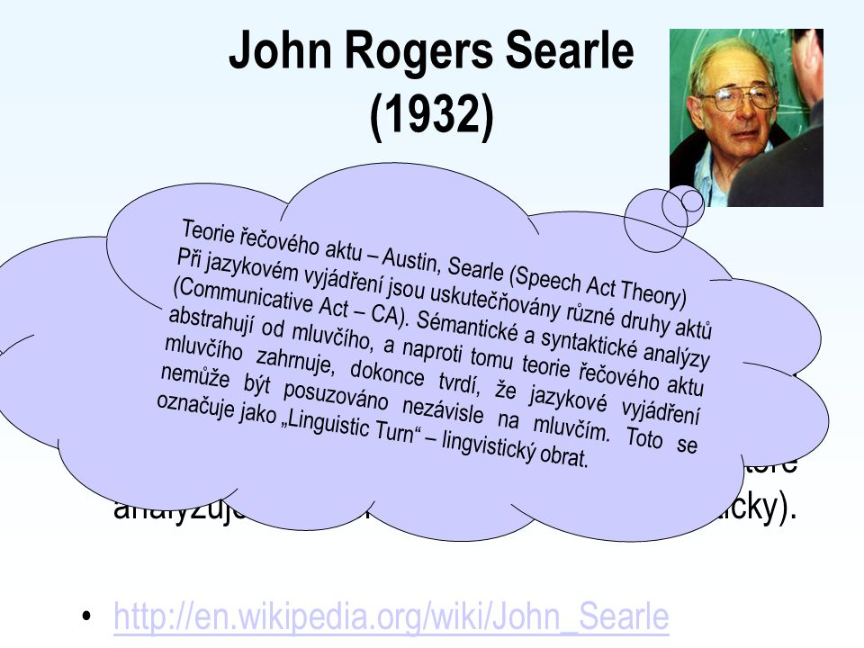 John Rogers Searle (1932) Teorie řečového aktu – Austin, Searle (Speech Act Theory)