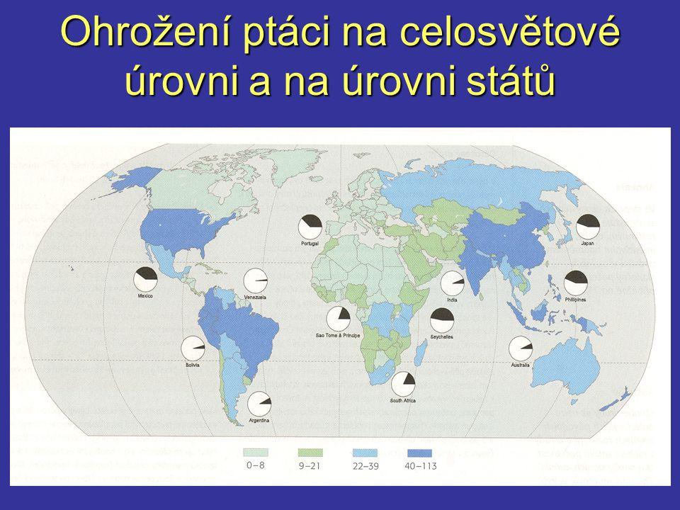 Ohrožení ptáci na celosvětové úrovni a na úrovni států