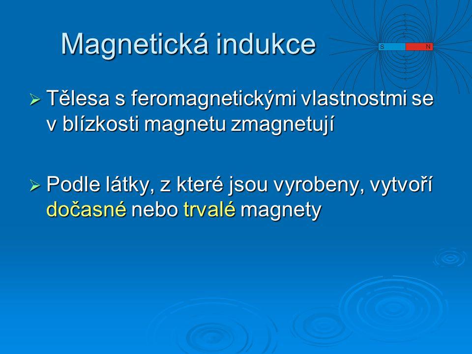 Magnetická indukce Tělesa s feromagnetickými vlastnostmi se v blízkosti magnetu zmagnetují.