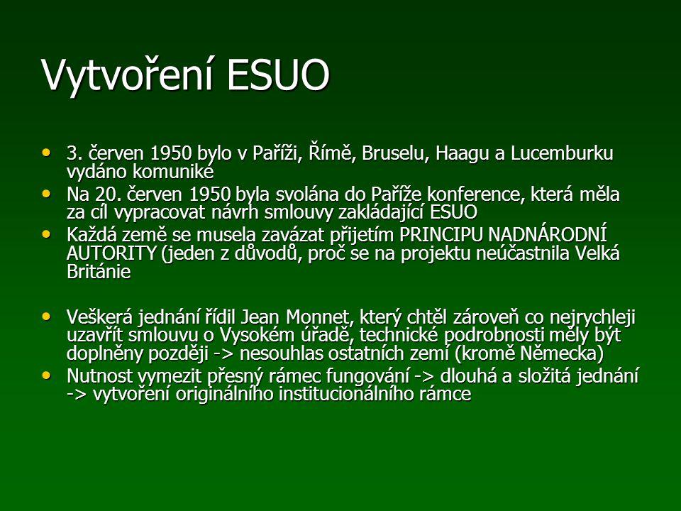 Vytvoření ESUO 3. červen 1950 bylo v Paříži, Římě, Bruselu, Haagu a Lucemburku vydáno komuniké.