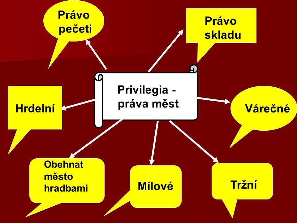 Právo pečeti Privilegia - práva měst Hrdelní Mílové