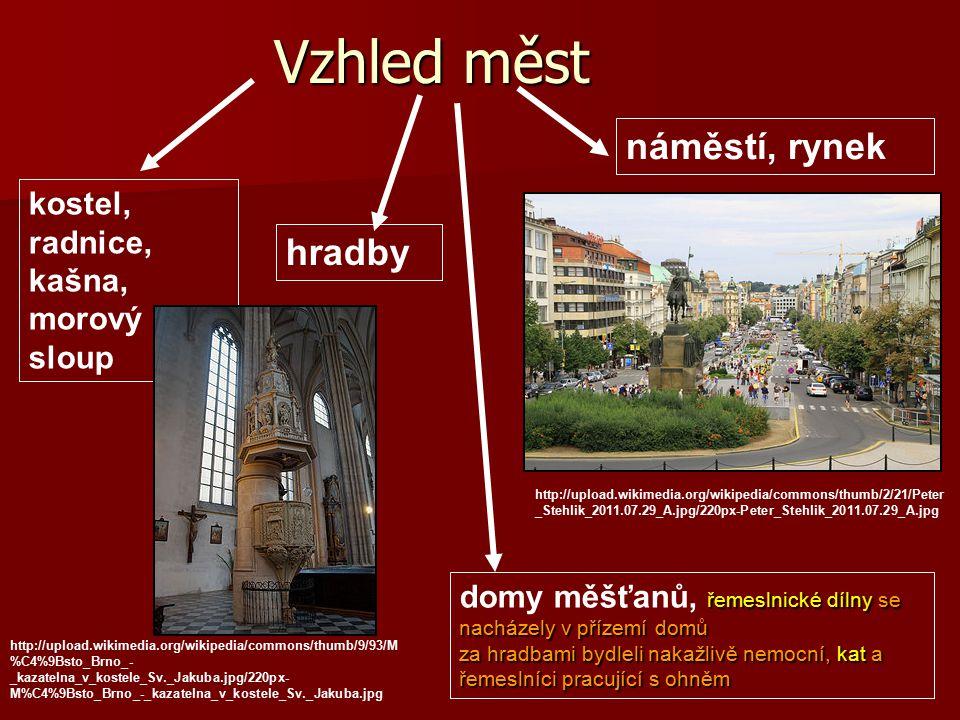 Vzhled měst náměstí, rynek hradby kostel, radnice, kašna, morový sloup