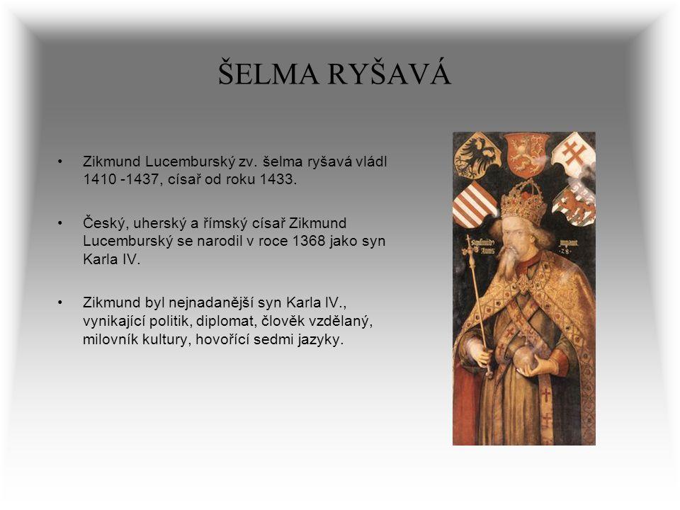 ŠELMA RYŠAVÁ Zikmund Lucemburský zv. šelma ryšavá vládl 1410 -1437, císař od roku 1433.