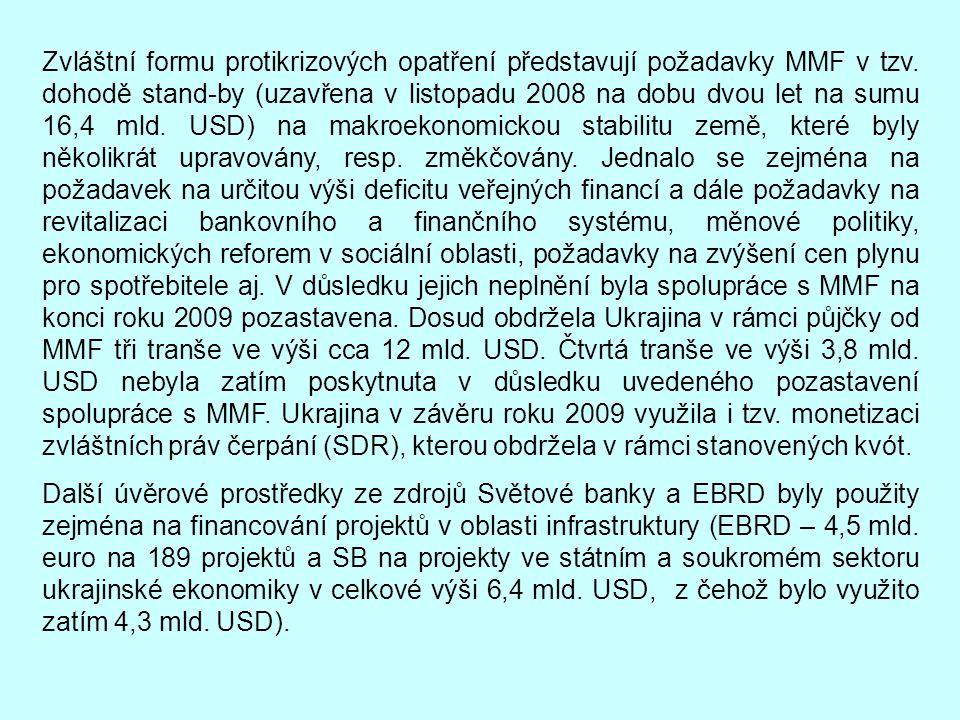 Zvláštní formu protikrizových opatření představují požadavky MMF v tzv