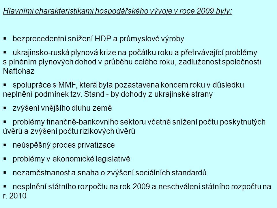 Hlavními charakteristikami hospodářského vývoje v roce 2009 byly: