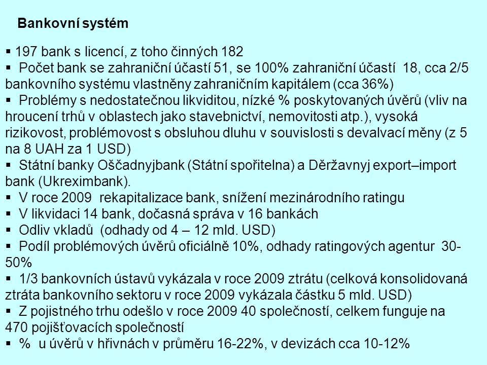 Bankovní systém 197 bank s licencí, z toho činných 182.