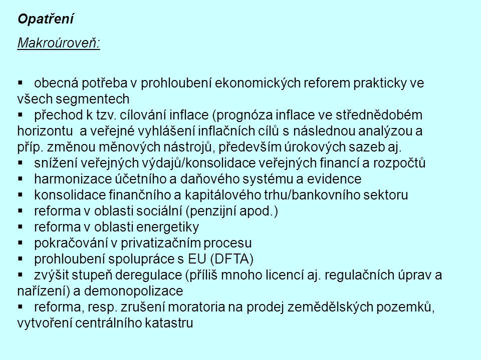 Opatření Makroúroveň: obecná potřeba v prohloubení ekonomických reforem prakticky ve všech segmentech.