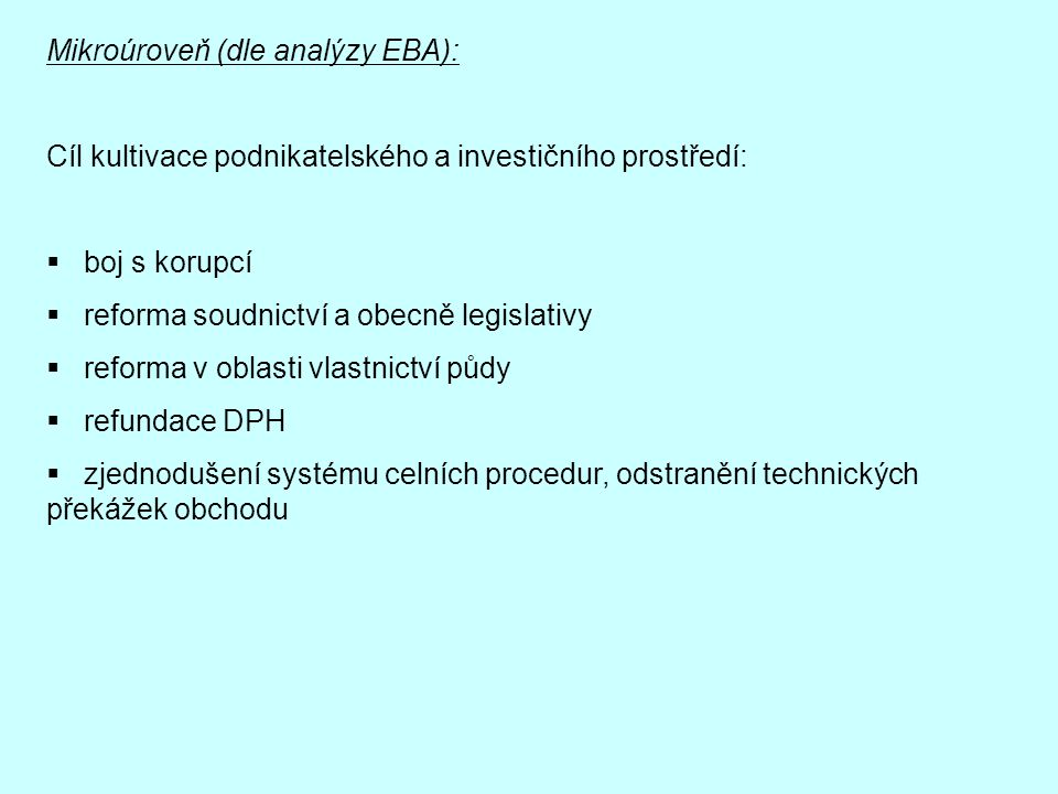 Mikroúroveň (dle analýzy EBA):