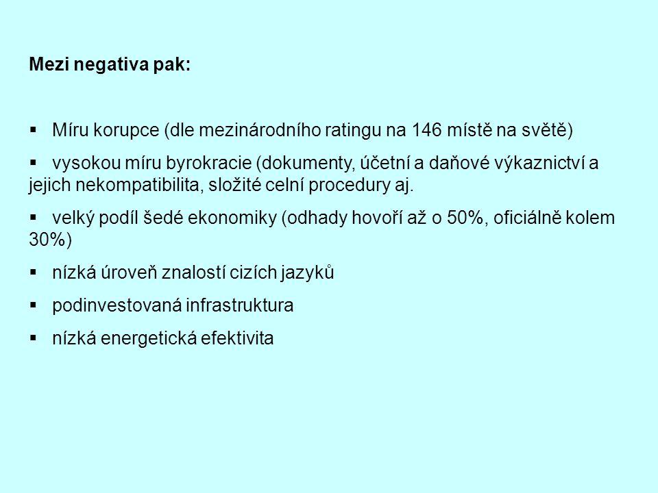 Mezi negativa pak: Míru korupce (dle mezinárodního ratingu na 146 místě na světě)