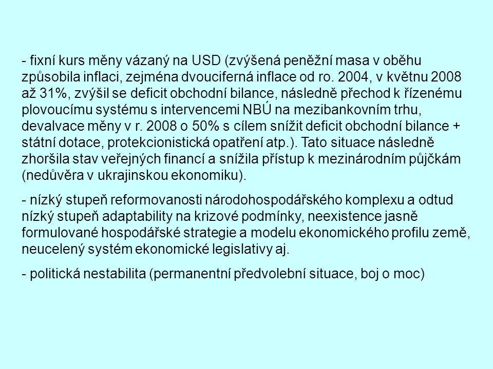 - fixní kurs měny vázaný na USD (zvýšená peněžní masa v oběhu způsobila inflaci, zejména dvouciferná inflace od ro. 2004, v květnu 2008 až 31%, zvýšil se deficit obchodní bilance, následně přechod k řízenému plovoucímu systému s intervencemi NBÚ na mezibankovním trhu, devalvace měny v r. 2008 o 50% s cílem snížit deficit obchodní bilance + státní dotace, protekcionistická opatření atp.). Tato situace následně zhoršila stav veřejných financí a snížila přístup k mezinárodním půjčkám (nedůvěra v ukrajinskou ekonomiku).
