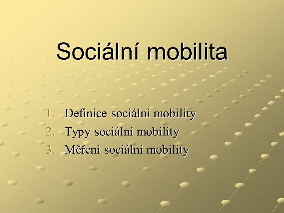 Sociální mobilita Definice sociální mobility Typy sociální mobility