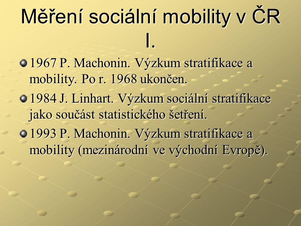 Měření sociální mobility v ČR I.