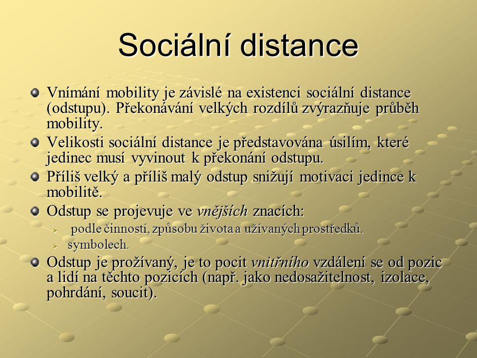 Sociální distance Vnímání mobility je závislé na existenci sociální distance (odstupu). Překonávání velkých rozdílů zvýrazňuje průběh mobility.