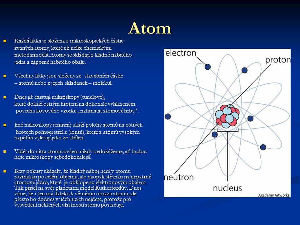 Atom Každá látka je složena z mikroskopických částic
