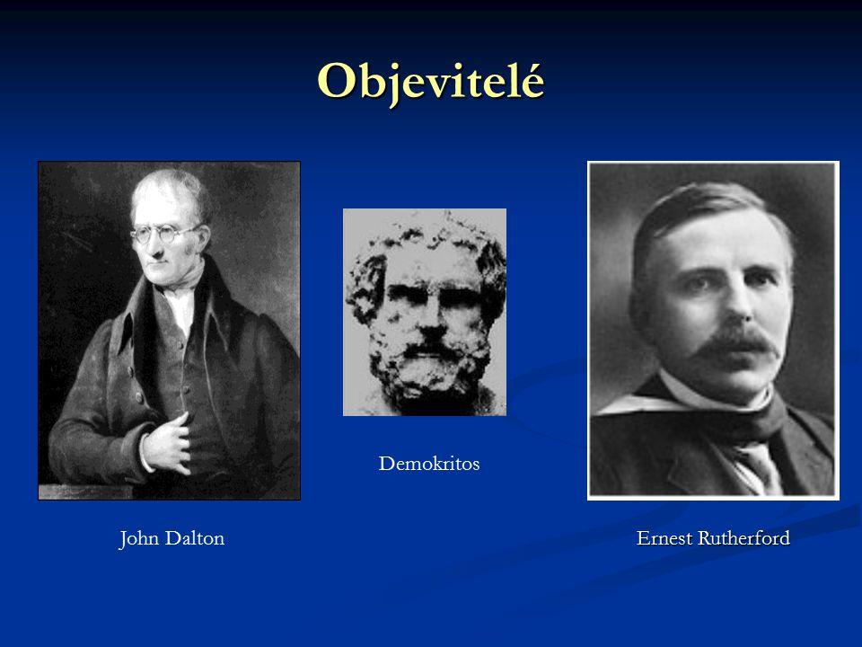 Objevitelé Demokritos John Dalton Ernest Rutherford