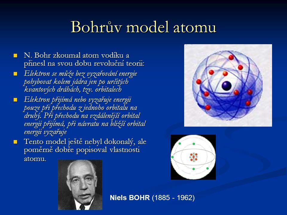 Bohrův model atomu N. Bohr zkoumal atom vodíku a přinesl na svou dobu revoluční teorii: