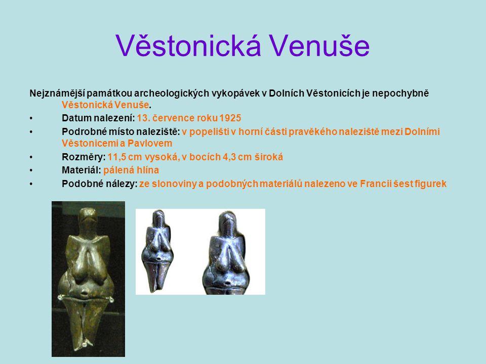 Věstonická Venuše Nejznámější památkou archeologických vykopávek v Dolních Věstonicích je nepochybně Věstonická Venuše.