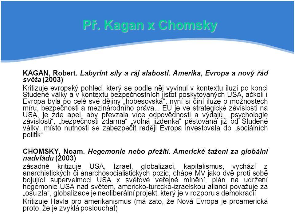 Př. Kagan x Chomsky KAGAN, Robert. Labyrint síly a ráj slabosti. Amerika, Evropa a nový řád světa (2003)