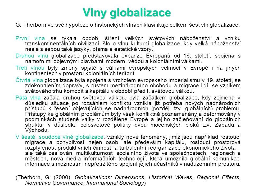 Vlny globalizace G. Therborn ve své hypotéze o historických vlnách klasifikuje celkem šest vln globalizace.