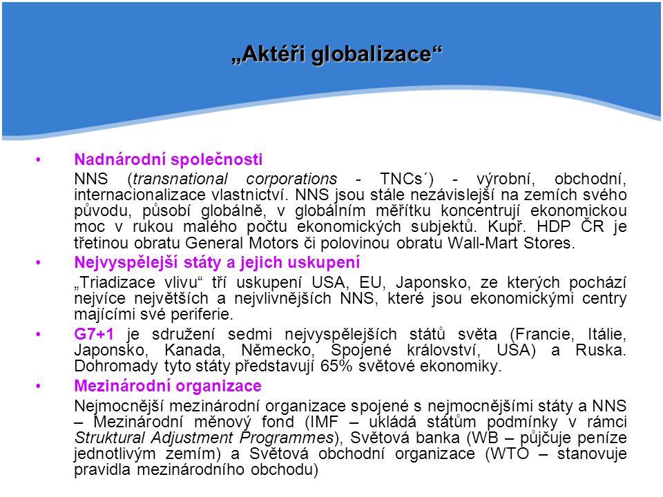 """""""Aktéři globalizace Nadnárodní společnosti"""