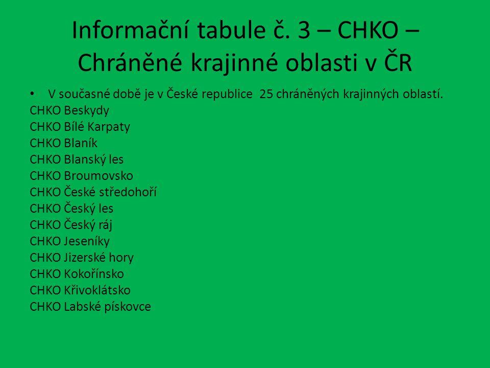 Informační tabule č. 3 – CHKO – Chráněné krajinné oblasti v ČR