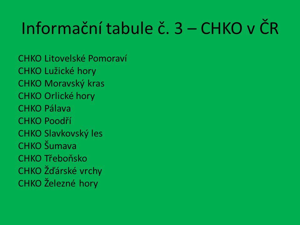 Informační tabule č. 3 – CHKO v ČR