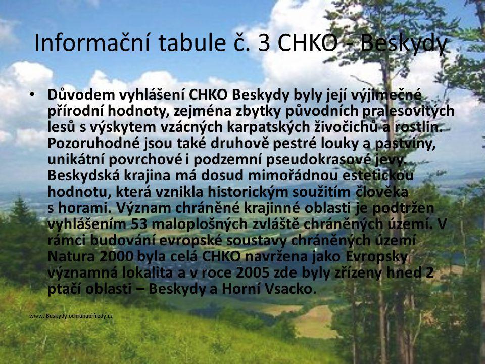 Informační tabule č. 3 CHKO - Beskydy