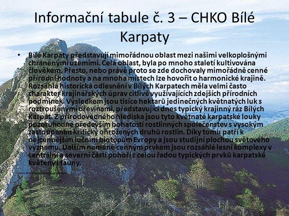 Informační tabule č. 3 – CHKO Bílé Karpaty