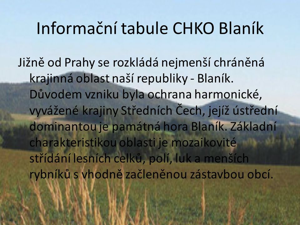 Informační tabule CHKO Blaník