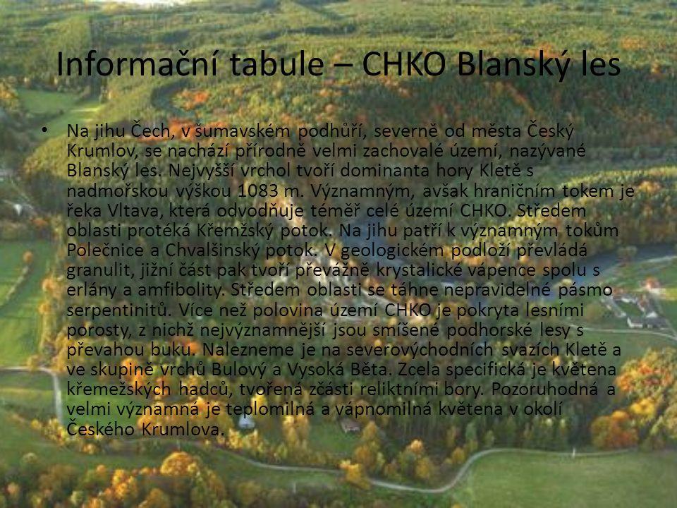 Informační tabule – CHKO Blanský les