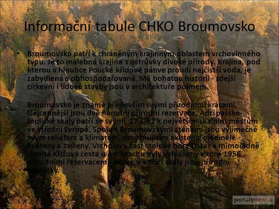 Informační tabule CHKO Broumovsko