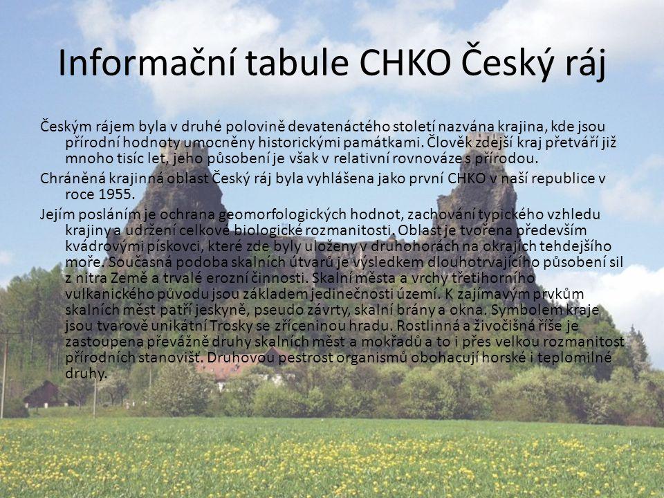 Informační tabule CHKO Český ráj