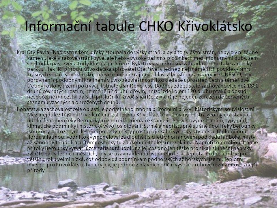 Informační tabule CHKO Křivoklátsko