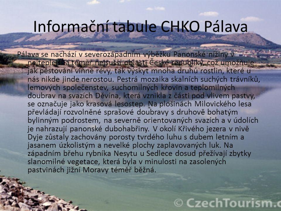 Informační tabule CHKO Pálava