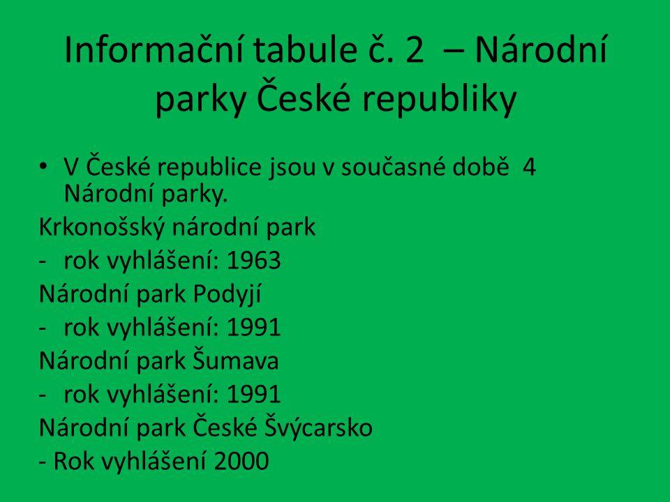 Informační tabule č. 2 – Národní parky České republiky