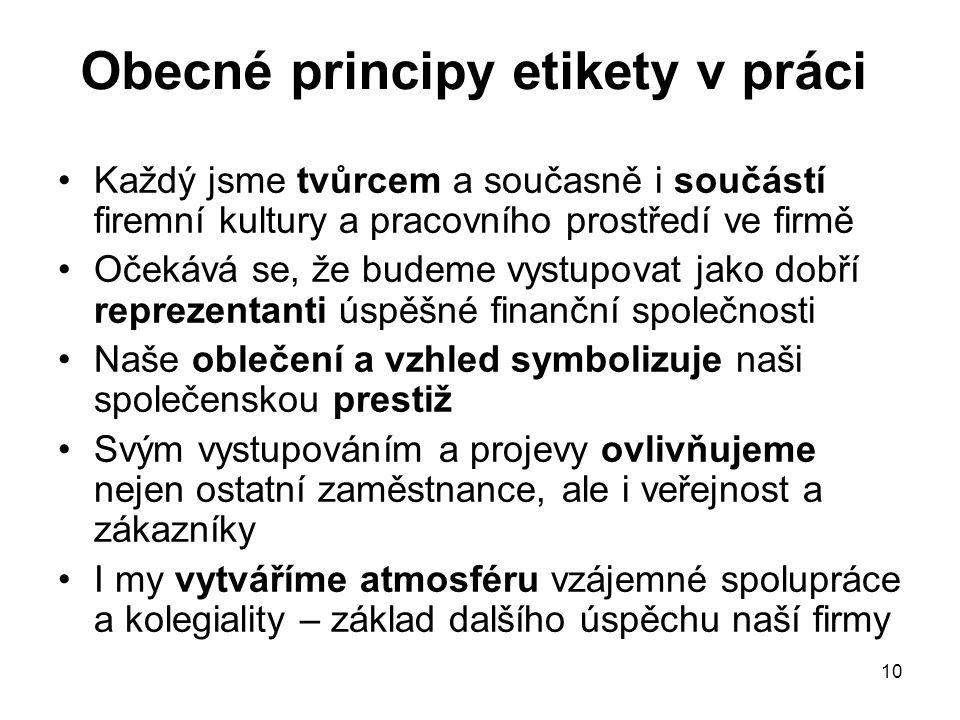 Obecné principy etikety v práci