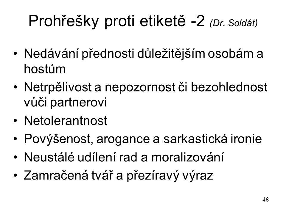 Prohřešky proti etiketě -2 (Dr. Soldát)
