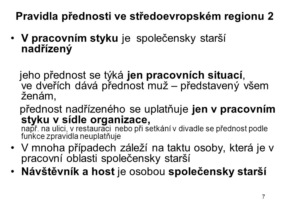 Pravidla přednosti ve středoevropském regionu 2