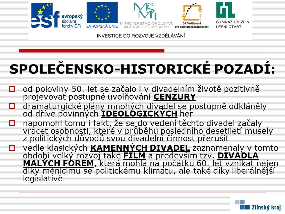 SPOLEČENSKO-HISTORICKÉ POZADÍ: