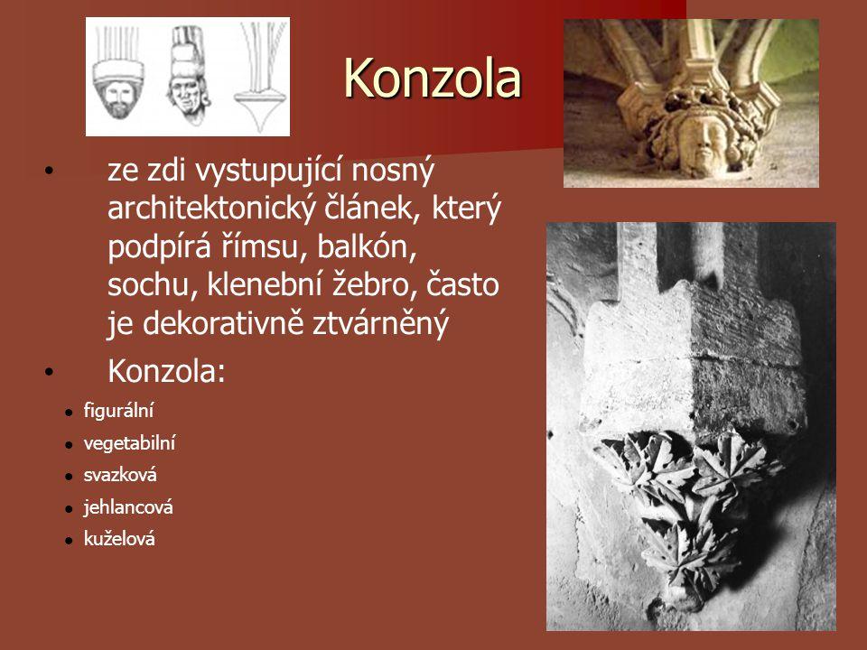 Konzola ze zdi vystupující nosný architektonický článek, který podpírá římsu, balkón, sochu, klenební žebro, často je dekorativně ztvárněný.