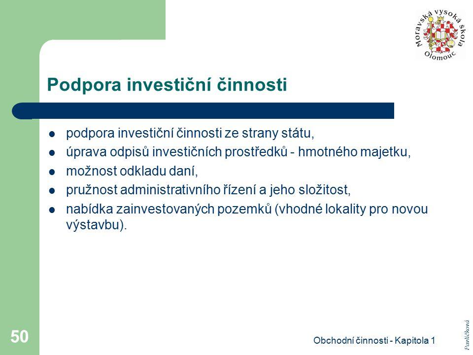 Podpora investiční činnosti