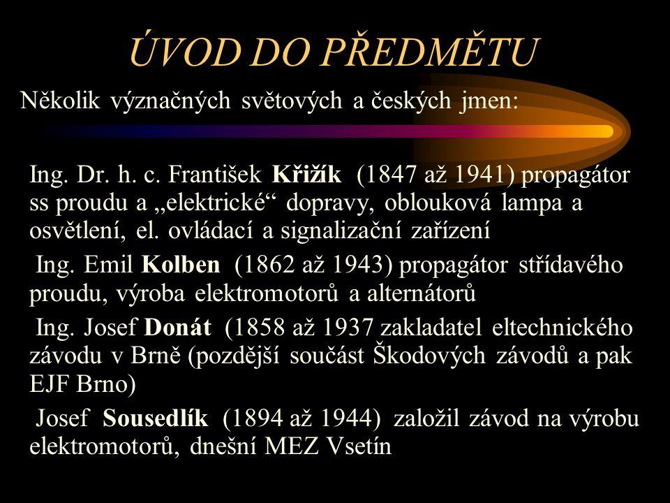ÚVOD DO PŘEDMĚTU Několik význačných světových a českých jmen: