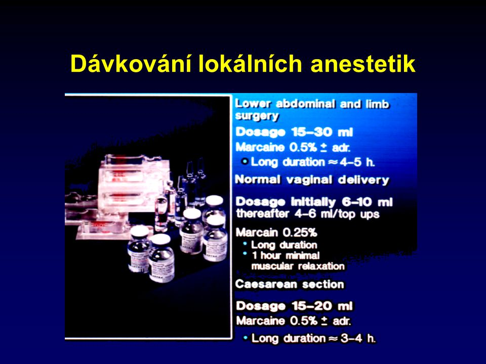Dávkování lokálních anestetik
