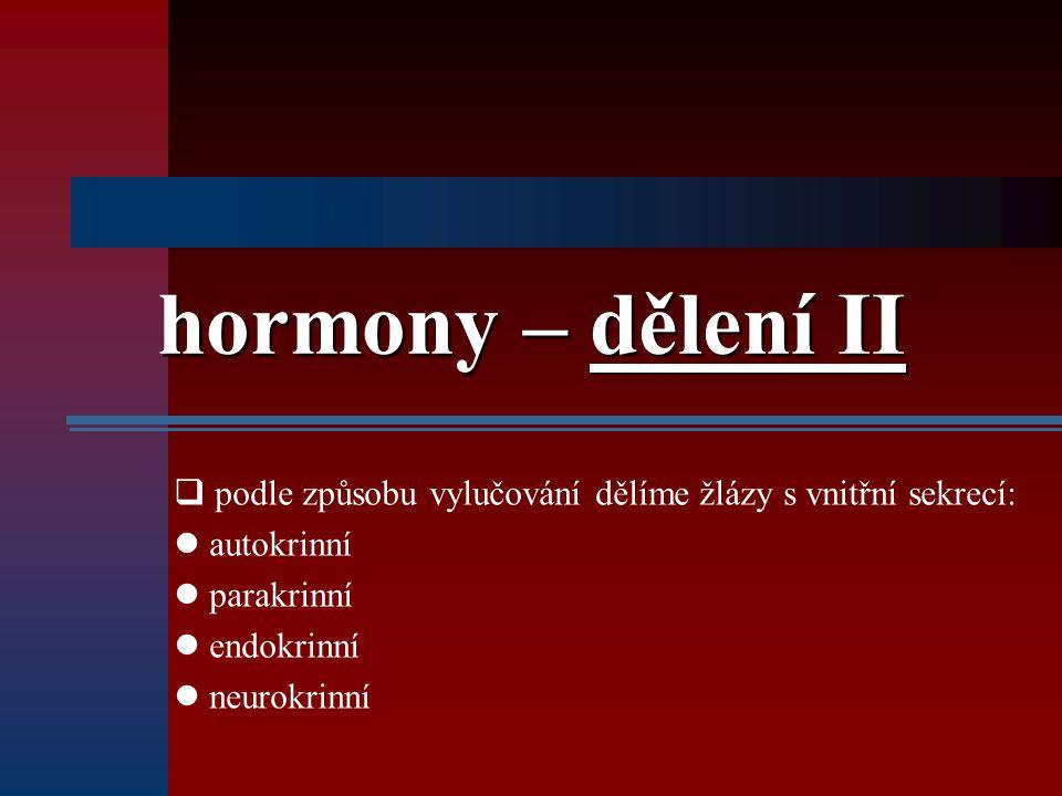 hormony – dělení II podle způsobu vylučování dělíme žlázy s vnitřní sekrecí: autokrinní. parakrinní.