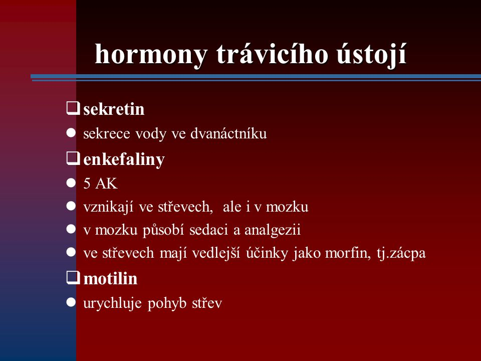 hormony trávicího ústojí