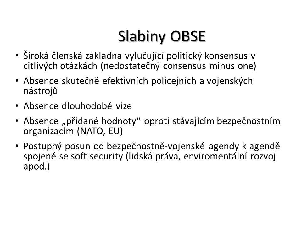 Slabiny OBSE Široká členská základna vylučující politický konsensus v citlivých otázkách (nedostatečný consensus minus one)