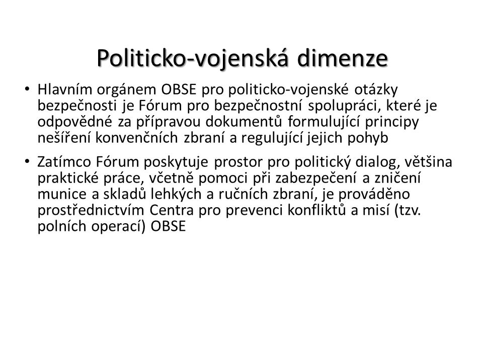 Politicko-vojenská dimenze